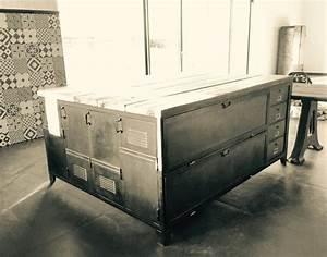 Meuble De Cuisine Industriel : meubles de rangement industriel m tal bois ~ Teatrodelosmanantiales.com Idées de Décoration