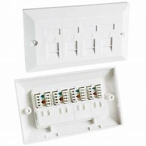 Quad Cat5e Data Wall Outlet Face Plate