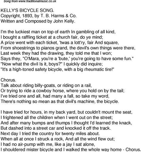 Old Time Song Lyrics For 42 Kellys Bicycle Song