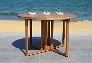 Safavieh, Wales, Indoor, Outdoor, Folding, Round, Dining, Table, Natural, -, Walmart, Com