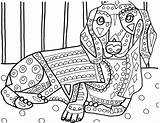 Coloring Pages Dog Heather Dachshund Dachshunds Adult Galler Portuguese Water Printable Sheets Animal Drawing Dogs Template Drawings Books Getcolorings Getdrawings sketch template