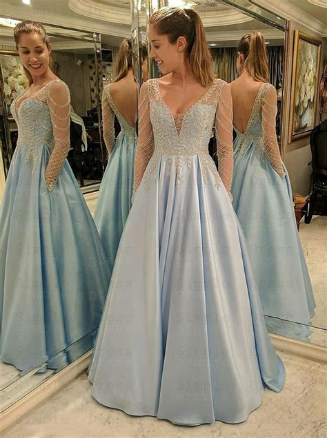A-Line V-Neck Long Sleeves Blue Satin Prom Dress with Lace ...