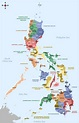 Large provinces and regions map of Philippines ...