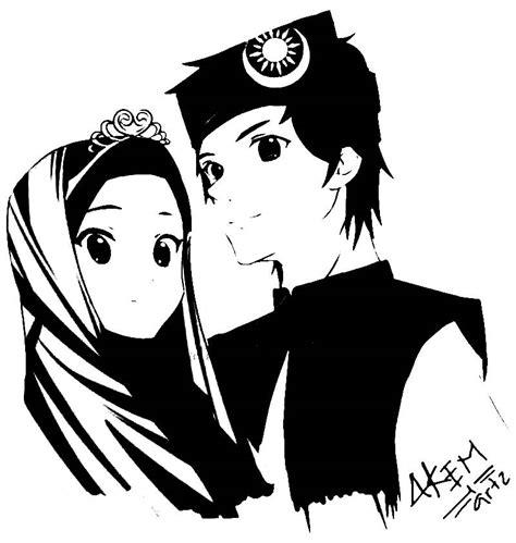 gambar anime muslim hitam putih gambar 31 kartun pasangan muslim muslimah anak cemerlang