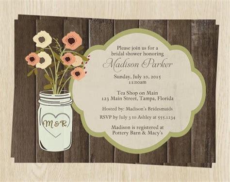 country mason jar bridal shower invitations wedding