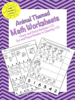 animal themed numbers quantities   worksheets print