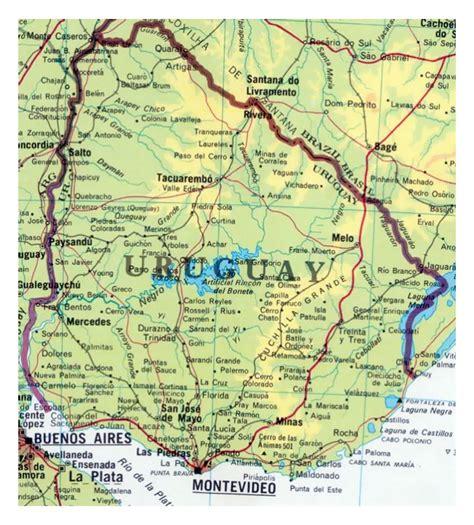 detailed map  uruguay  roads  cities uruguay