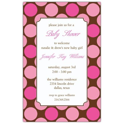baby shower for large large dots pink baby shower invitations paperstyle