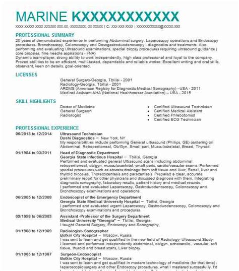 Ultrasound Resume by Best Ultrasound Technician Resume Exle Livecareer