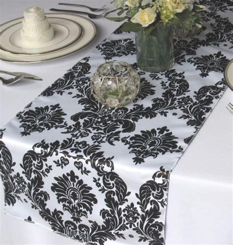 black velvet table runner 12 quot x 108 quot flocking damask table runner black white
