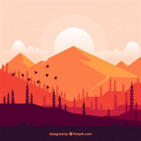 background  mountains  sunset  vector  games
