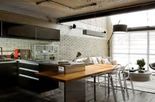 metal island kitchen industrial chic loft features the ideal match between