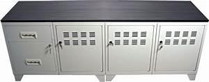 Meuble Tv Industriel Bois Metal : meuble tv bois m tal industriel blanc ~ Teatrodelosmanantiales.com Idées de Décoration