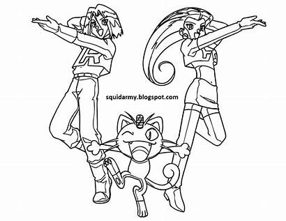 Rocket Pokemon Coloring Pages Team Army Clipart