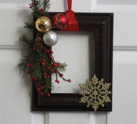 christmas picture frame wreath vintage frames and
