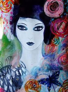 Peinture Visage Femme : portrait femme fleurs papillon visage femme art contemporain ~ Melissatoandfro.com Idées de Décoration