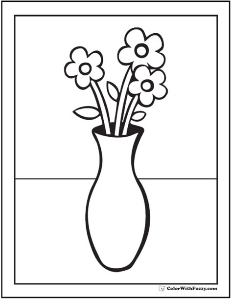 flower vase coloring 102 flower coloring pages customize and print pdf