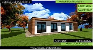 Maison cubique cube ou carree en ossature bois par votre architecte constructeur: plans permis
