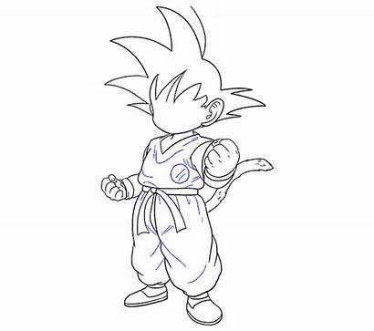 Goku Draw Easy Drawing Outline Step Steps