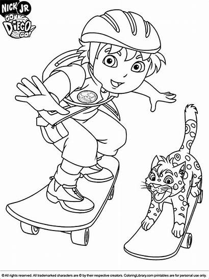 Diego Coloring Pages Cartoon Skateboard Printable Boys