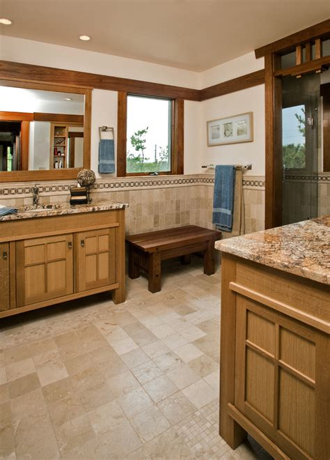 Craftsman Style Bathroom Playing With Tiles And Natural