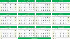 2018 yearly calendar printable templates of word excel With year long calendar template