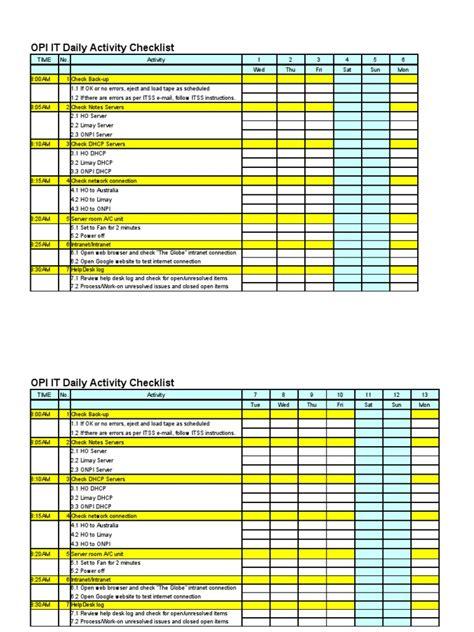 daily activities checklist  desk internet