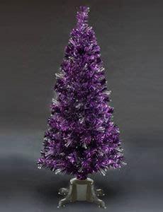 black christmas tree with purple lights fibre optic trees