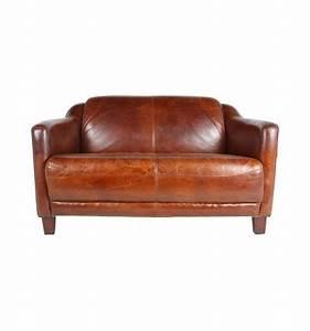 Canape 2 places en cuir marron vintage for Tapis de gym avec canapé 2 places cuir marron