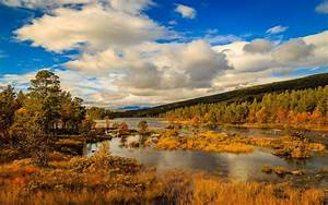 Wallpaper, Norway, Autumn, Mountains, Trees, River, Clouds