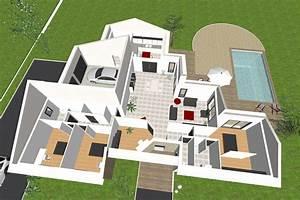 plan de maison plain pied 3 chambres 3d With creation de maison 3d 1 maisons plain pied