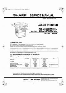 Sharp Ar P350 Ar P450 Laser Printer Circuit Diagram Manual