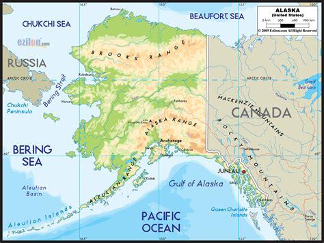 physical map  alaska ezilon maps