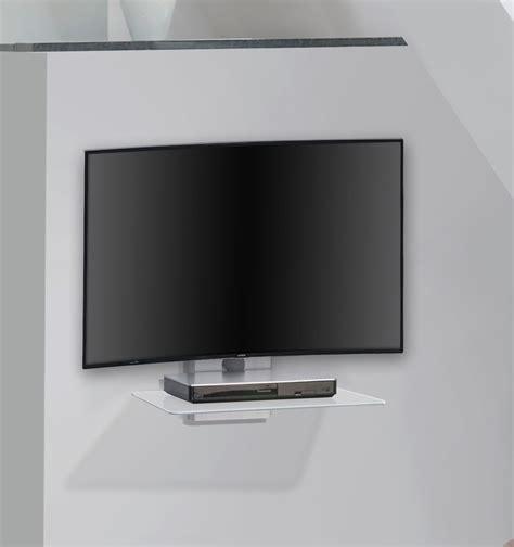 tablette murale pour tv etag 232 re murale design pour t 233 l 233 viseur en m 233 tal alu verre clair cyriane meuble tv design