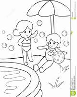 Swimming Pool Coloring Kid Drawing Pages Template Getdrawings 19kb 1300px 1035 Preview sketch template