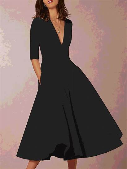 Swing Deep Neck Prom Sleeve Solid Dresses