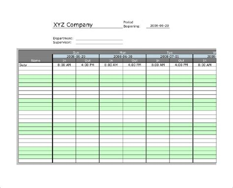 timecard hours 8 printable time card templates free word excel pdf