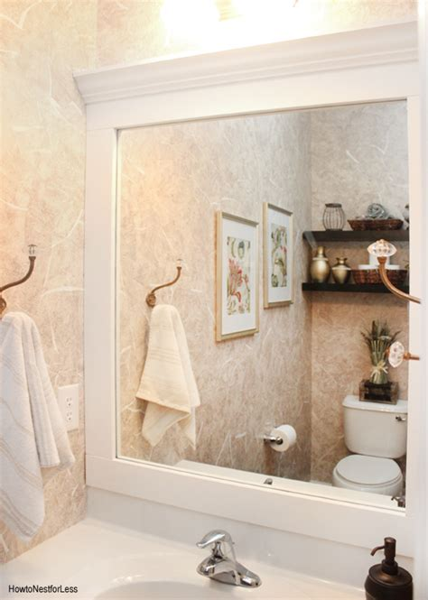 framed bathroom mirrors ideas powder room makeover how to nest for less