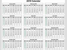 Fiscal Year 2019 Calendar Excel