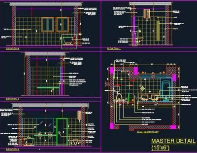 master bath design detail  autocad dwg plan