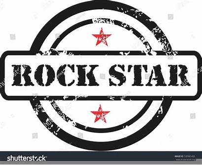 Rock Roll Star Vector Stamp Clipart Rubber