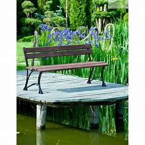 Banc Jardin Bois : banc de jardin en bois couleur noyer et aluminium 150cm maison de la tendance ~ Teatrodelosmanantiales.com Idées de Décoration
