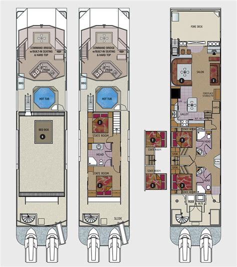Houseboat Layout by 75 Foot Odyssey Class Houseboat