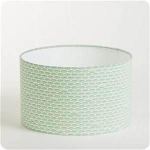 Abat Jour Vert : abat jour design pour lampe lampadaire ou suspension en tissu motif japonais vert pastel shawa ~ Teatrodelosmanantiales.com Idées de Décoration