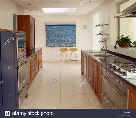 large galley kitchen travertine flooring in large modern galley kitchen 3652