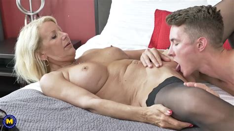 Canadian Mature Bianca Is Wearing Black Stockings While