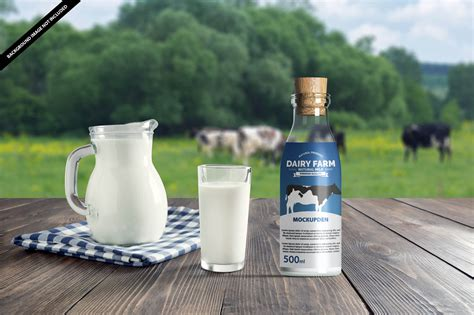 Overview apply your design ideas on this mockup of a plastic milk jug in a half side view. Milk Bottle Mockup Free PSD Template - Mockup Den