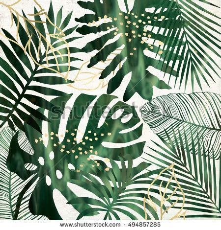 Green And Gold Tree Wallpaper by Green Gold Tropical Leaves Printable Wall Stock