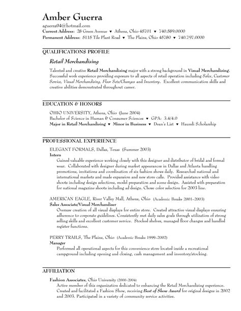 Resume Profile Exles Retail by Sle Resume For Retail Sales Associate In A Clothing Store Sle Resume For Retail Sales