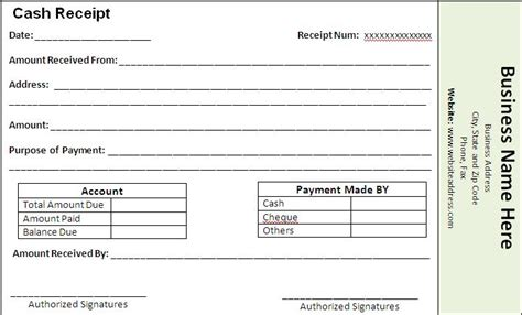 payment receipt template  word templates